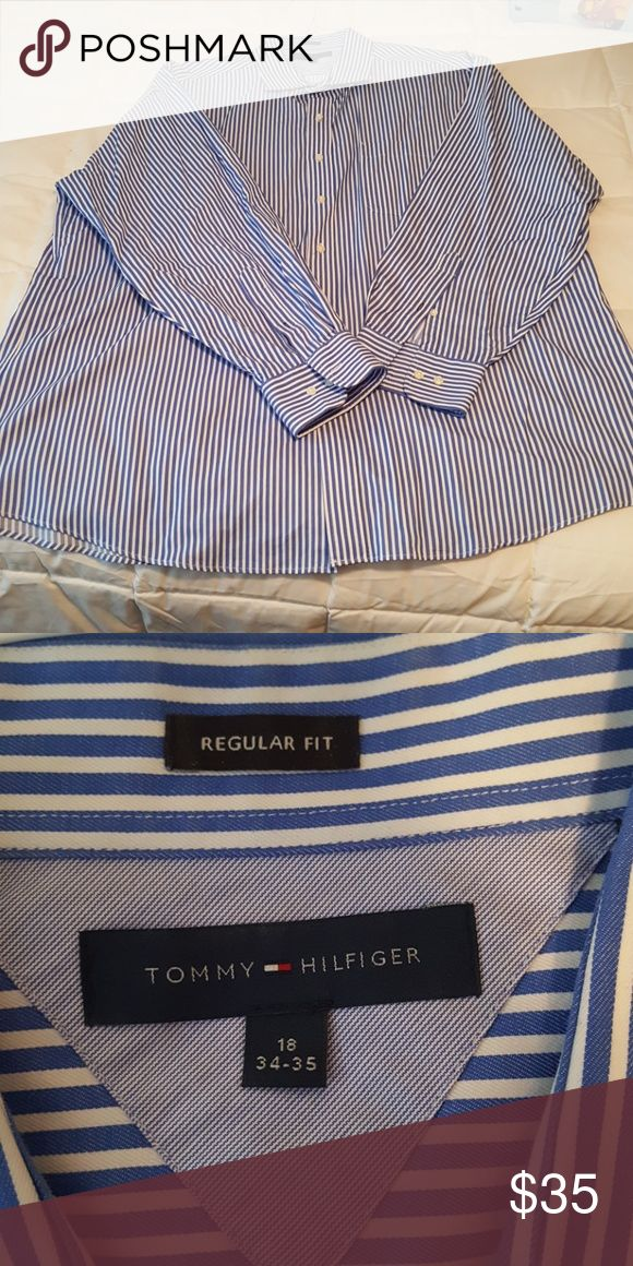 """Tommy Hilfiger Men's Regular Fit Bengal Stripe Tommy Hilfiger Men's Regular Fit Bengal Stripe Dress Shirt, Blue, 18"""" 34/35 Tommy Hilfiger Shirts Dress Shirts"""