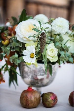 Fall flower arrangement with pomegranates | floral design by www.sarahwinward.com/ | photography by www.pauljohnsonphoto.com/