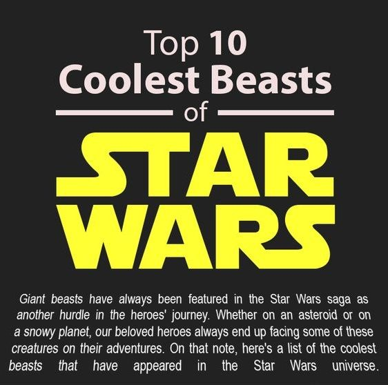 The Top 10 Beasts From Star Wars.