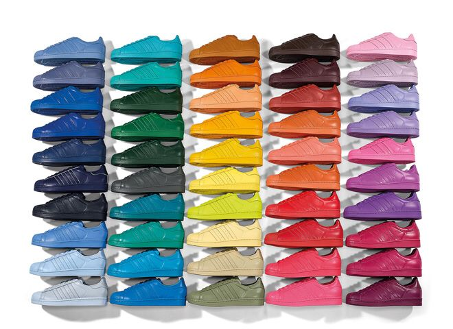 Pharrell Williams' collaboration with adidas Originals. He has taken the classic silhouette of the Superstar and added a whole load of colour, in fact 50 different colours, offering a choice like never before.