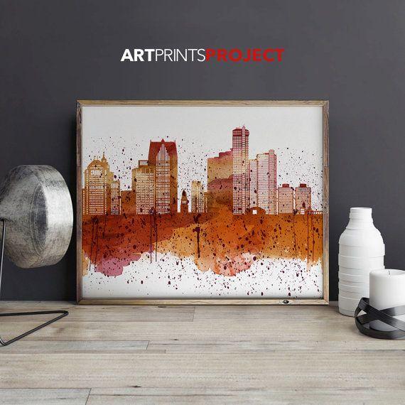 Detroit art wall print Michigan cityscape by ArtPrintsProject