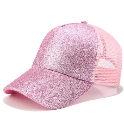 Damen Glitter Pferdeschwanz Baseball Cap   – https://levelupstyle.com/
