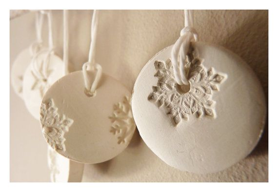 5 snowflake ornaments porcelain winter white & by LaNiqueHOME