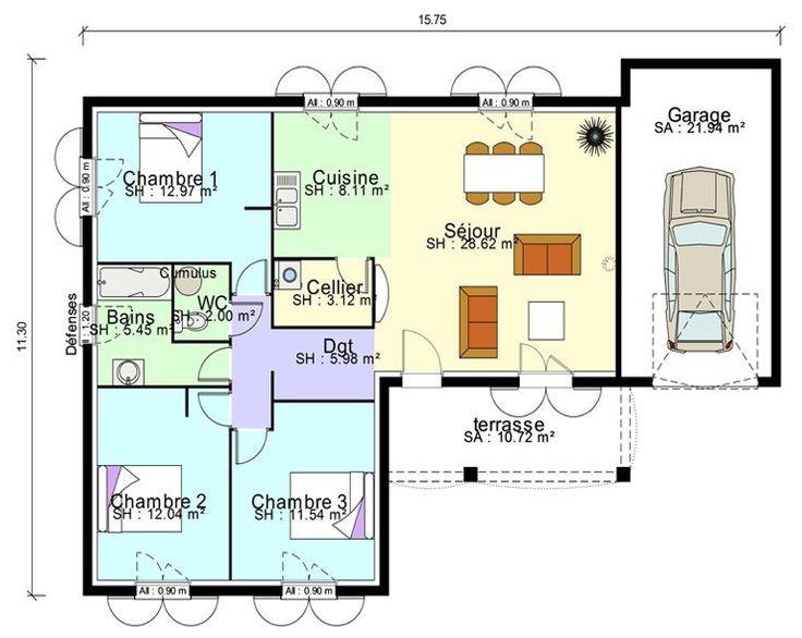 Plan De Maison Plain Pied 100m2 Cuisine Modele Plein Gratuit Moderne | Plan maison 100m2