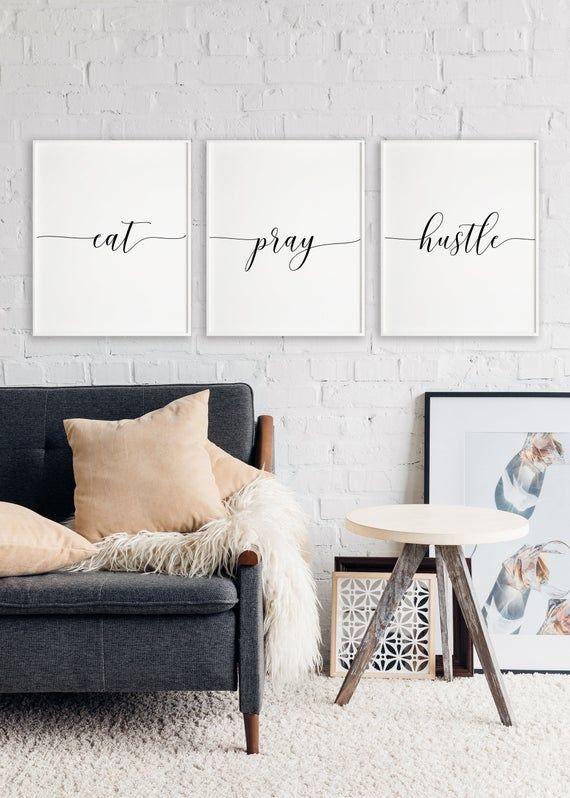 Inspirational Wall Art Black /& White Quote Home Decor Wall Decor Printable Art Bedroom Decor Eat Pray Hustle Quote Office Decor