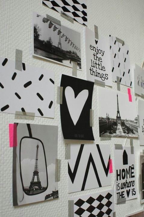 Weet je niet wat je moet doen met al die kaarten en foto's? Plak ze met masking tape op je muur en maak zo in een handomdraai een persoonlijke collage #DIY