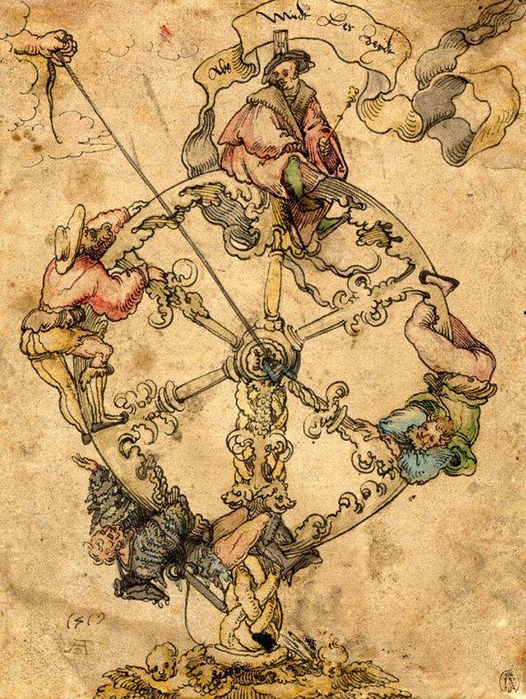 La Rueda de la Fortuna. Una mano que emerge de entre las nubes controla el giro de la rueda mediante una cuerda. En la rueda aparecen cuatro figuras. Hans Weiditz (Alemania, 1519) British Museum 1997.0712.22.