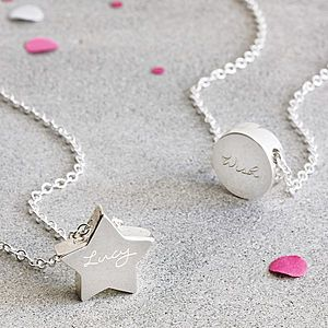 Personalised Silver Engraved Charm Pendant - personalised gifts for her