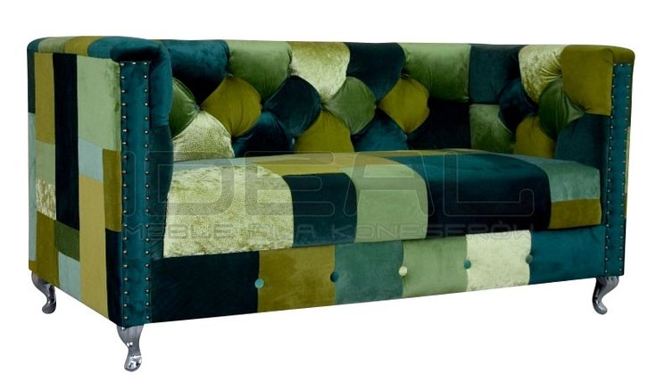 Sofy Stylowe - Sofa Chesterfield London Ludwik Patchwork 2 - Ideal Meble