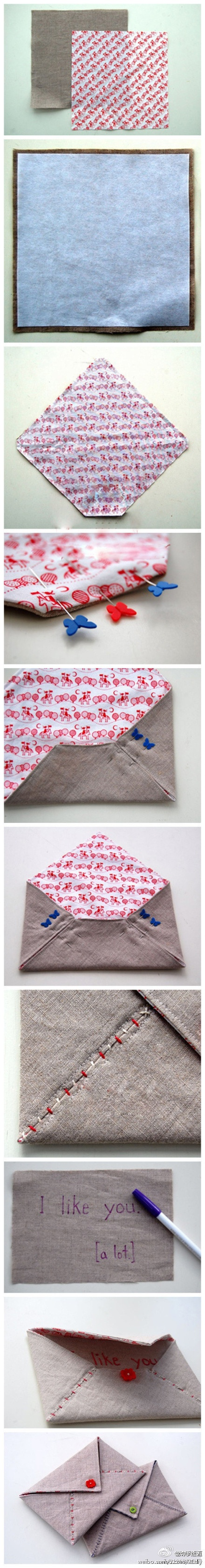: Sewing, Stitched Envelope, Ideas, Craft, Gift, Fabrics, Diy, Fabric Envelopes