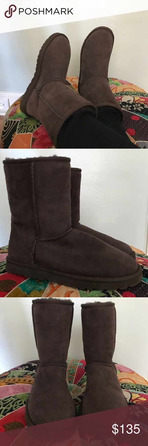 UGG Classic Short boot UGG Classic Short boot in chocolate. So comfortable, soft, and warm! Seldom worn and in excellent used condition. Soles pictured: what looks like a flaw on one is the sticker that was originally on the bottom. No cosmetic or structural flaws, inside or out. Retail $155.00. Authentic, see screenshot of emailed receipt. UGG Shoes