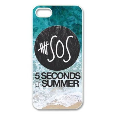 Pop band 5 seconds of summer 5 SOS blue sea and beach Iphone 5 5S hard plastic case
