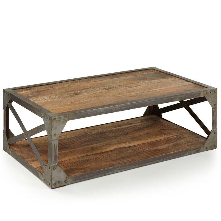 430 € Mesa de centro rectangular de 2 niveles estructura de hierro gris y sobres de madera de color amarillento con vetas oscuras Una pieza ideal para decoraciones de estilo urbano e industrial