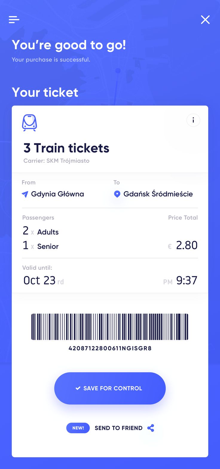 Your ticket screen