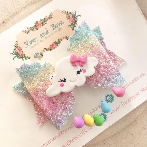 "Handcrafted Rainbow Cloud Clay Glitter Tulle Fabric Hair Bow Clip 3.5/"""