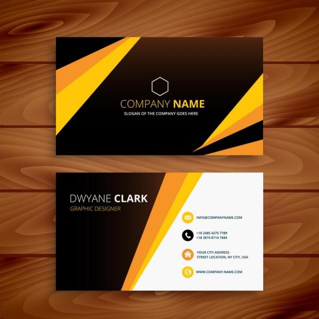 Creative Yellow And Black Business Card Business Vector Design
