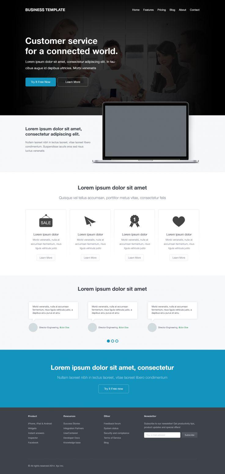 Free Corporate Website Template, #CorporateDesign, #Flat