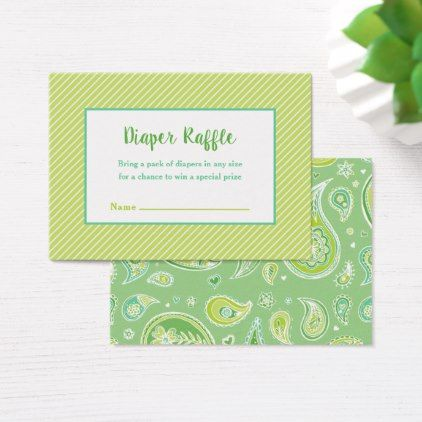 Green Paisley Baby Shower Diaper Raffle Card - baby gifts child new born gift idea diy cyo special unique design