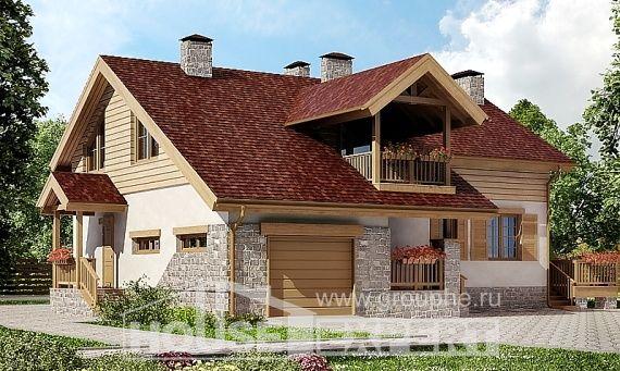 165-002-П Проект двухэтажного дома и гаражом, уютный загородный дом из керамзитобетонных блоков