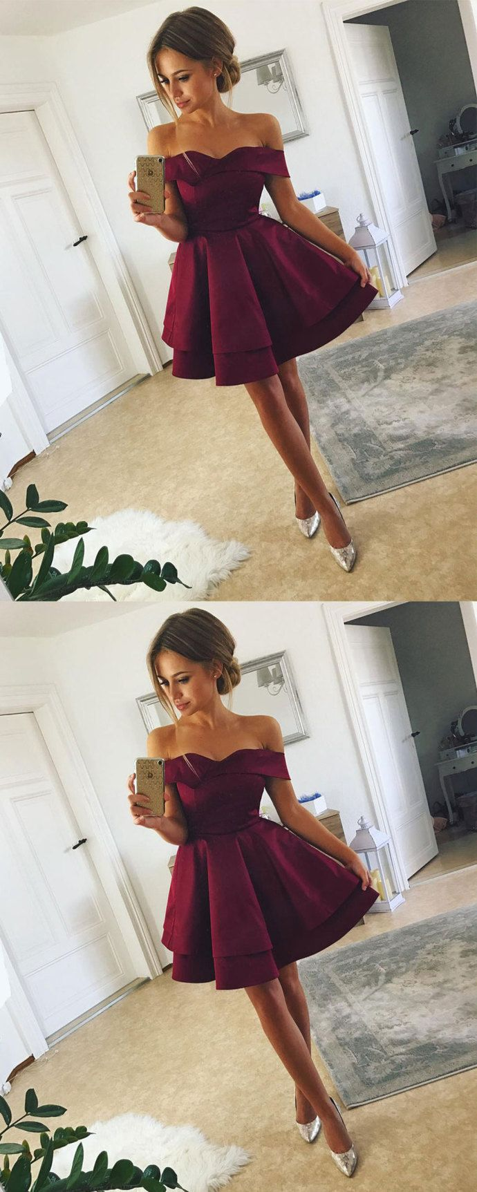 aee62a077 Simple A-Line Off-the-Shoulder Short Above-knee Burgundy Satin Homecoming  Dress by Smile, $127.32 USD