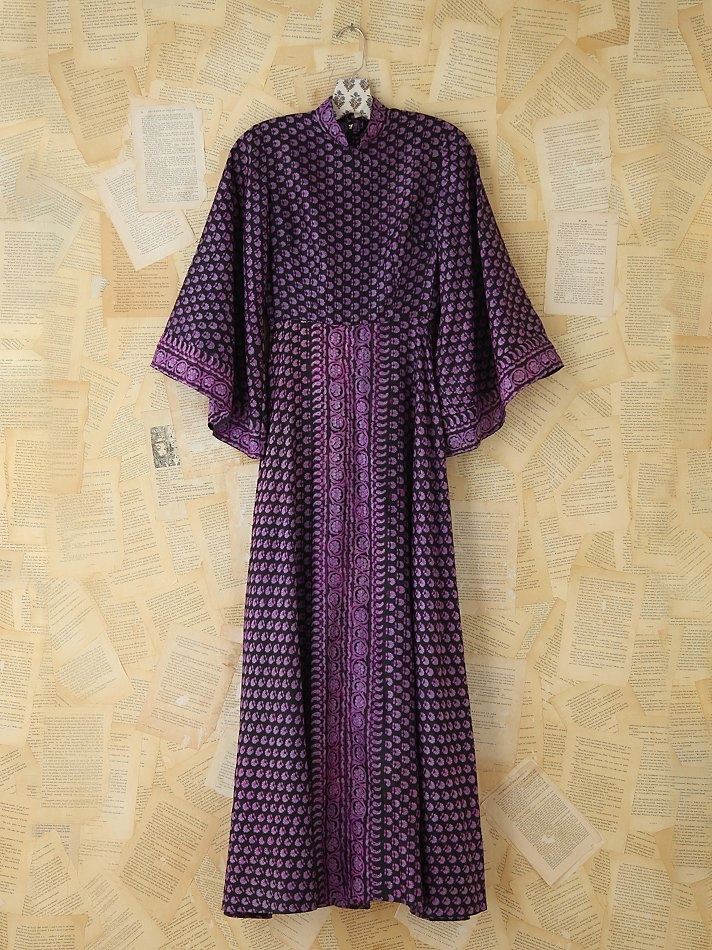 Free People Vintage Silk Patterned Indian Dress