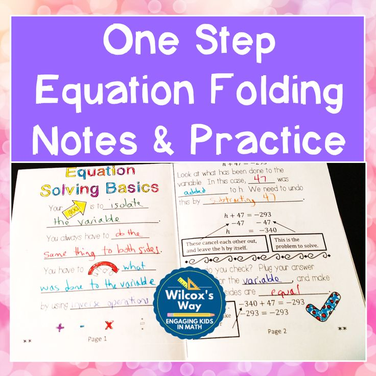 One Step Equations Folding Notes and Practice from Wilcox