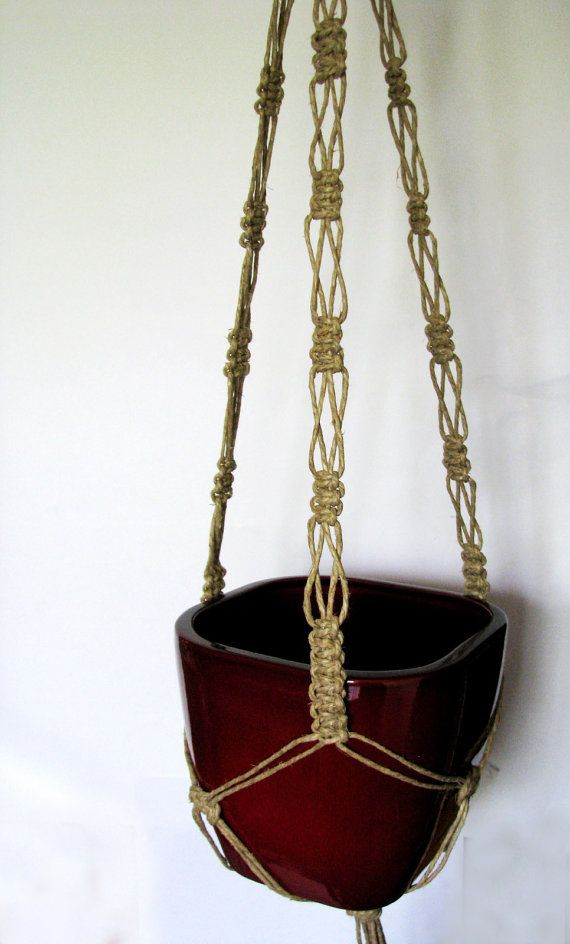 Twine Macrame plant hanger-indoor plant holder-Hanging Planter-Hanging Basket-beaded macrame basket-macrame pot hanger-twine plant hanger