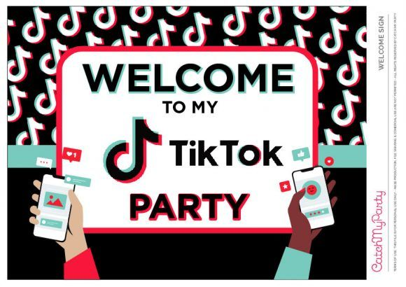 Kick Off Your Party With One Of These Fantastic Welcome Tiktok Party Welcome Signs See Party Printables Party Printables Free Birthday Party Printables Free