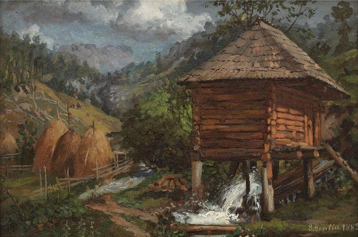 Moara - Sava Henţia / datata 1882 (ulei pe panza) Watermill - Sava Henţia / dated 1882 (oil on canvas)