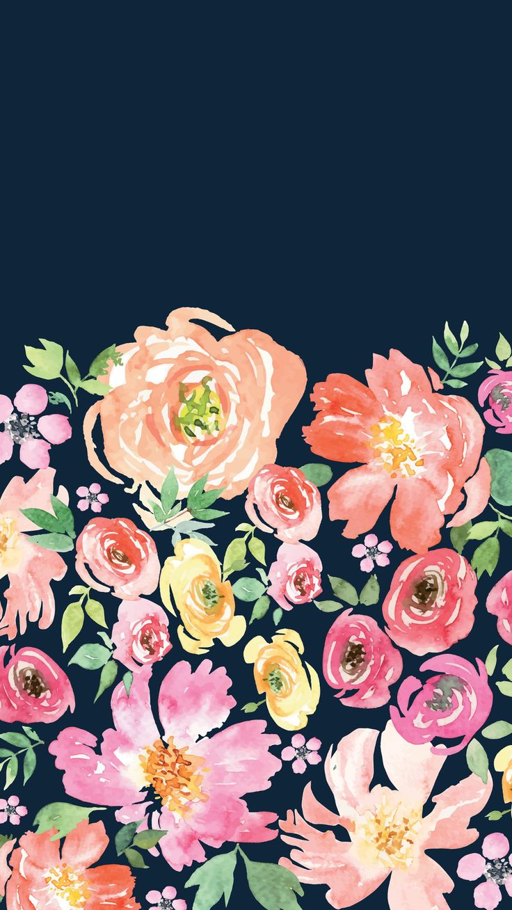 Navy floral wallpaper