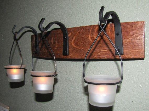 3 Hanging Tea Light Holder 15 inches - Wine Barrel  Hanging Candle Holder