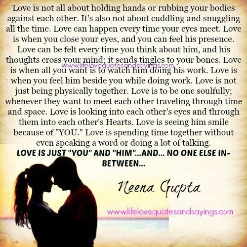 Love is not all about holding hands