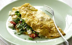 Tomato, Fetta and Coriander Omelette