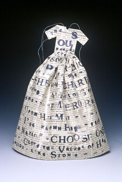 Landfall Press  Small Poem Dress (The Soul Selects...)  1993  Litho, newspaper: Newspaper Edition, Papered Such Dresses, Craftiness Paper Mache, Paper Dresses, Domestic Dresses, Paper Crafts Dresses, Wedding Gifts