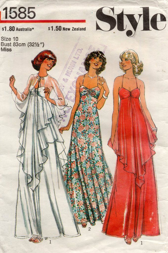 1970s Misses High Waist Evening Length Dress and Cape Style 1585 Vintage Sewing Pattern Sizes 14 Bust 36