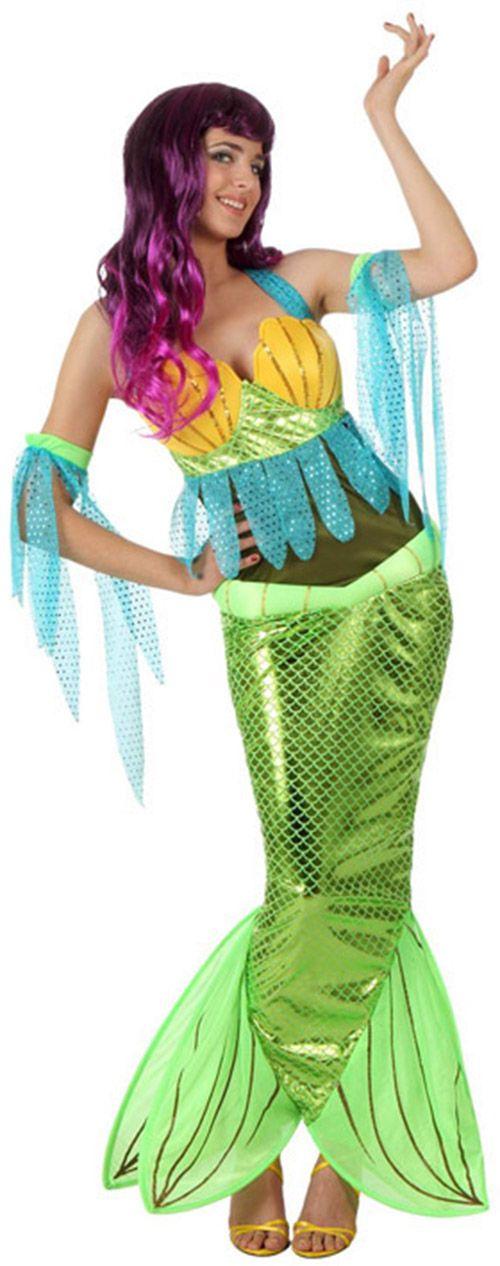 Disfraz de sirena mujer: Este disfraz de sirena para mujer está compuesto por un top, una falda y un par de mangas (peluca y zapatos no incluidos). El top deja la espalda al aire, es de color kaki y tiene flecos azul...