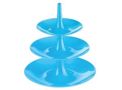 Plat de présentation WOOP-L en plastique avec trois étages. Existe en neuf coloris.