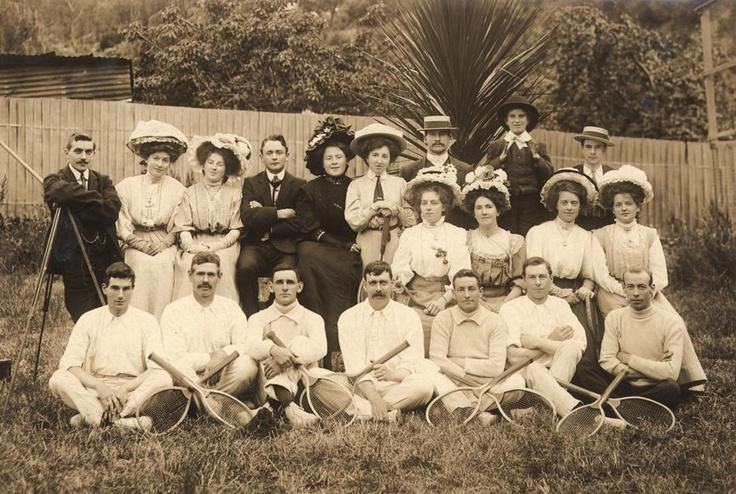 Postcard - Group of Women & Men with Tennis Raquets, Walhalla, Victoria, 1905-1920 Walhalla Tennis Club members.