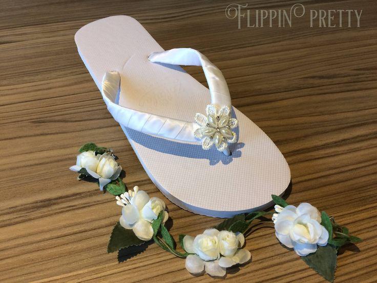 Excited to share the latest addition to my #etsy shop: Bridal Flip Flops, sandals, Beach Wedding, boho wedding, flower flip flop, diamante & pearl flip flops, pretty flip flops, wedding shoes,