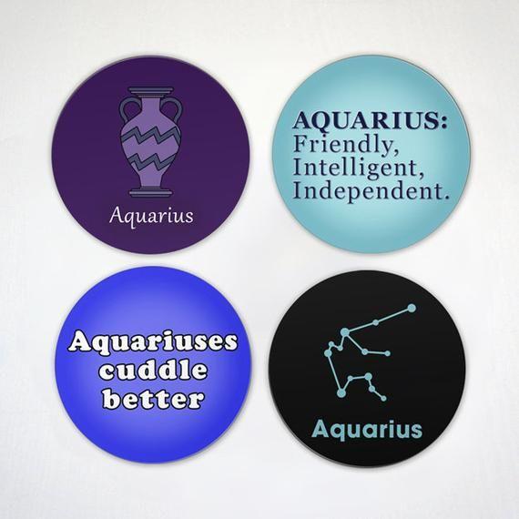 Aquarius Magnet - Zodiac Sign Magnet - Aquarius Symbols