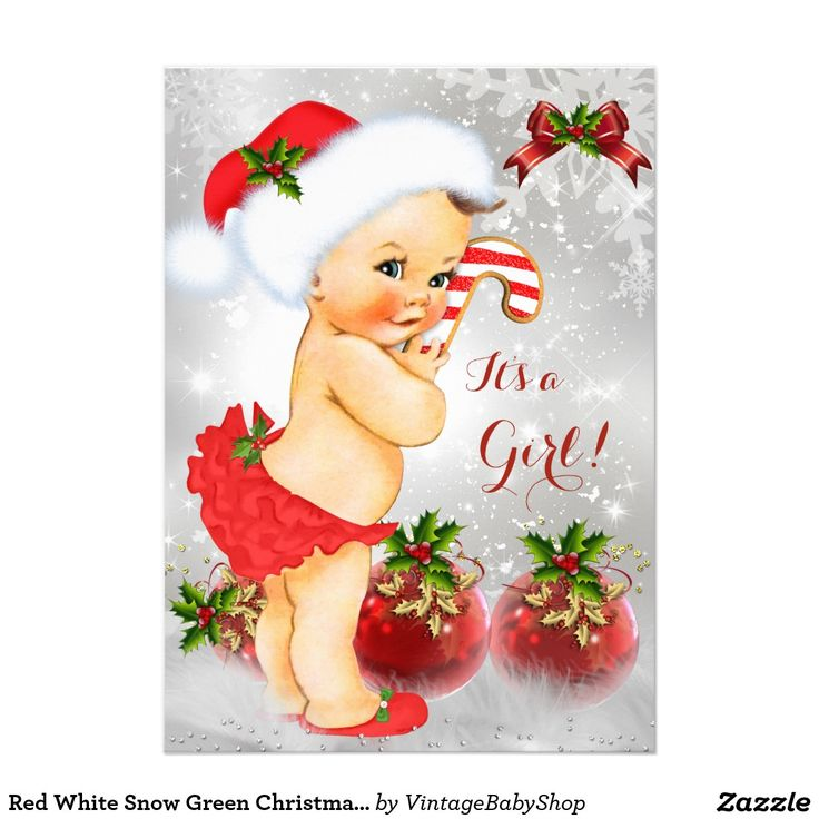 Red White Snow Green Christmas Baby Shower Girl 5x7 Paper Invitation Card