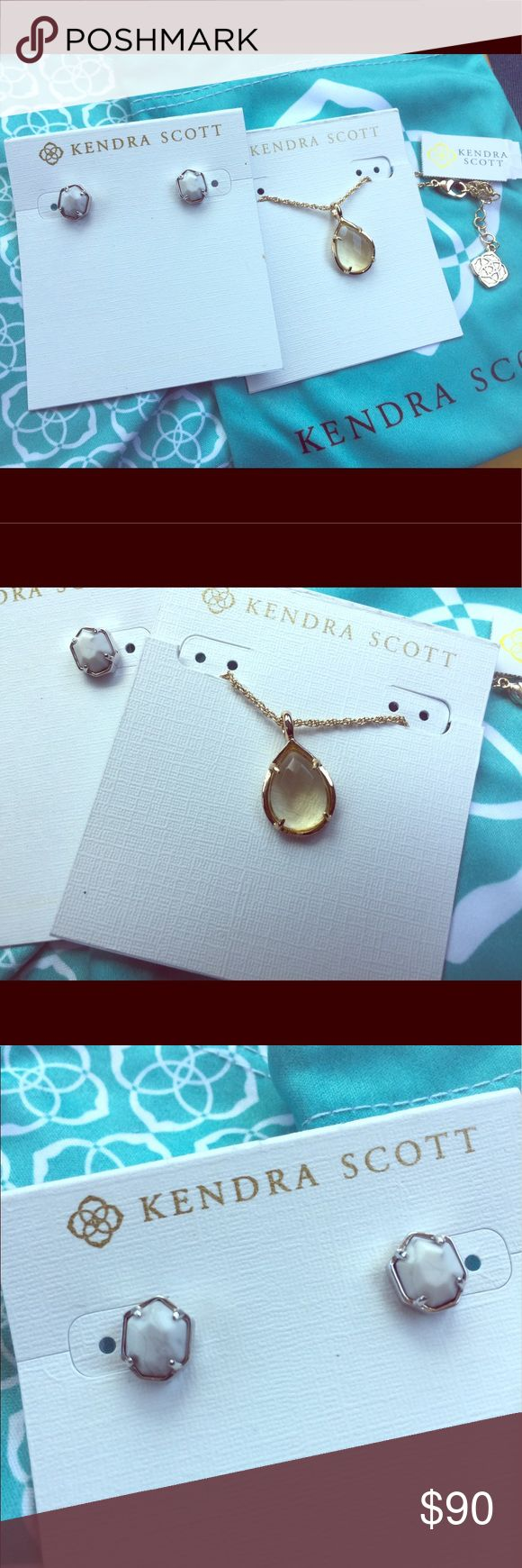 """✨Kendra Scott """"Logan"""" earrings & """"Kiri"""" necklace! Kendra Scott Bundle - """"Logan"""" earrings silver  & """"Kiri"""" Necklace Gold/Yellow. Feminine and beautiful. Take both brand new pieces. They come in their dust bag and with their care card. Kendra Scott Jewelry Earrings"""
