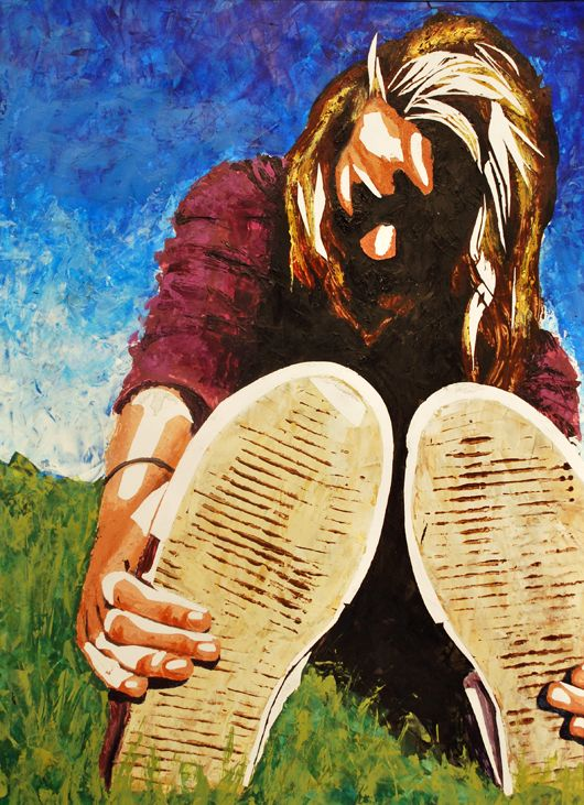 AP Foreshortened Figure, cool textures/details in the foreground area, Emily, Kathy Bradshaw's AP class 2012