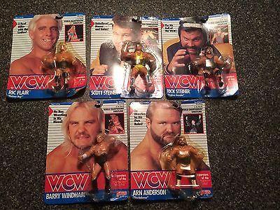 Galoob WCW Vintage Wrestling Figure Lot Of 5 MOC Ric Flair, Steiner,Arn Anderson