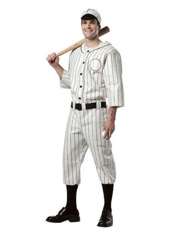 Amerikaanse honkbalspeler kostuum. Kostuum voor heren, naar de honkballers outfit zoals deze vroeg in de USA werd gedragen. Exclusief sokken en riem. One size model (M/L).