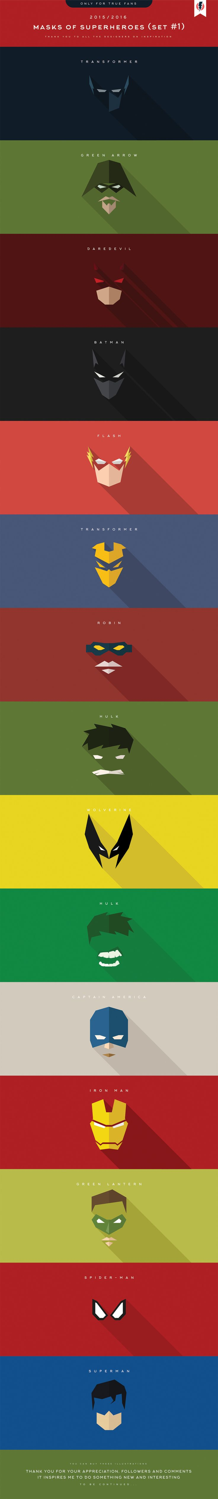 Minimalist Superhero Masks For Batman, Daredevil, Deadpool, and More