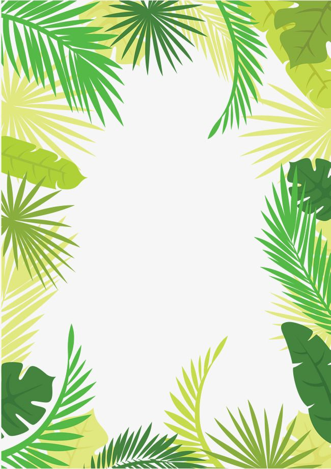 Vector Tree Leaves Border, Summer Border, Summer Border, Hand Drawn