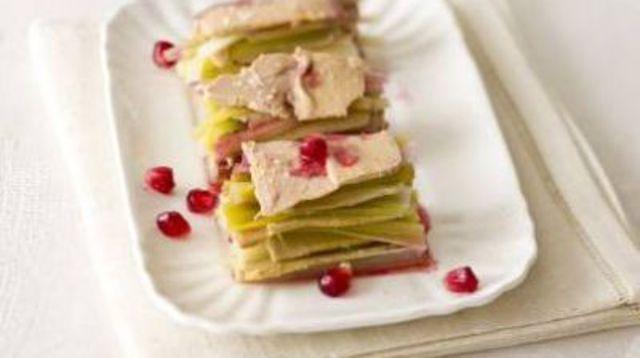 La terrine de foie gras aux poireaux, vinaigrette à la grenade de Keda Black