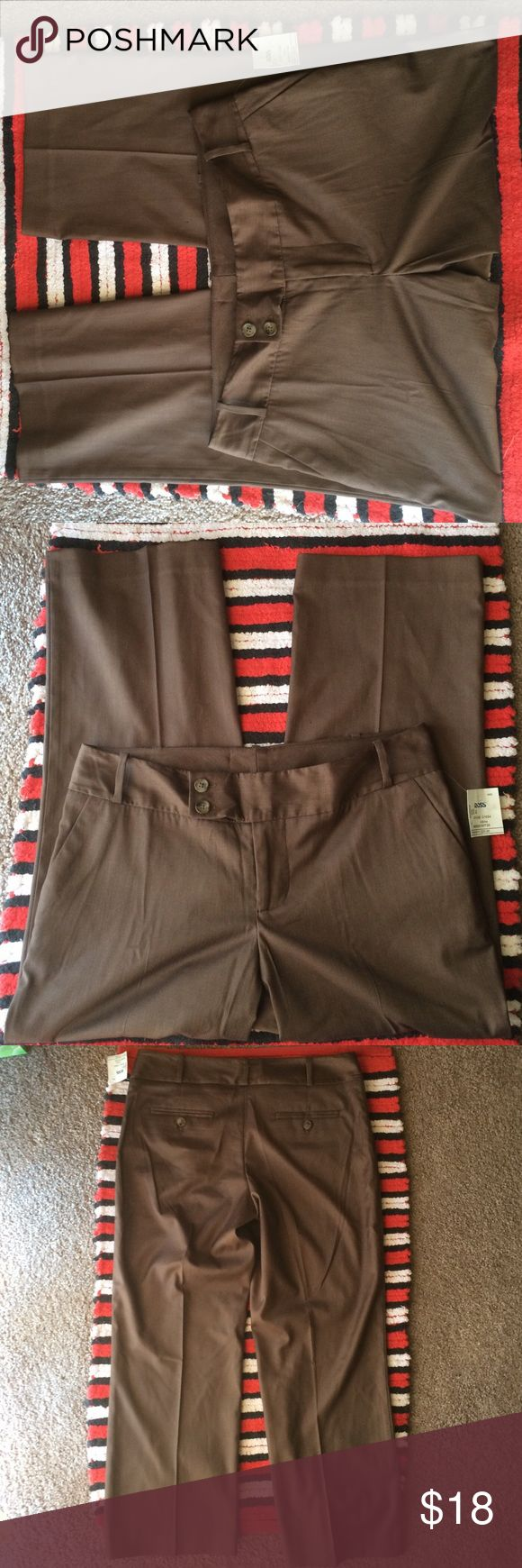First Opinion Ladies Dress Pants Sz. 4 Polyester/Rayon/Spandex, Brown w/gray pin striped pants-brand new-tags still attached. First Opinion Pants Trousers