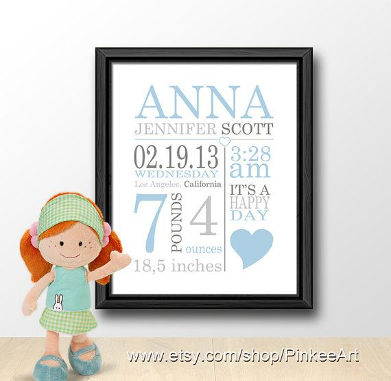 Personalized baby shower gift baby birth announcement by PinkeeArt